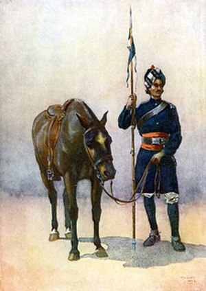 19th Lancers - A sowar of 19th Lancers (Fane's Horse). Watercolour by AC Lovett, 1910
