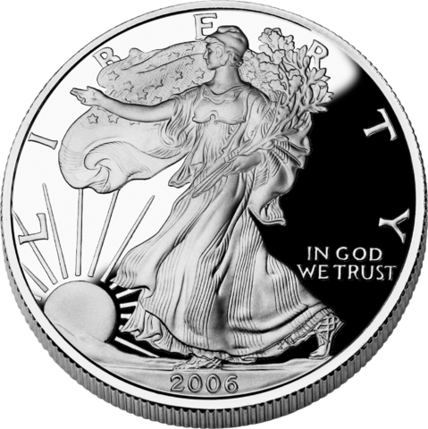 obverse side of the 2006 American Silver Eagle proof coin