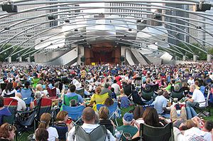 Audience - Some of this audience at the Jay Pritzker Pavilion provided their own seating to hear Beethoven's 9th Symphony at the Grant Park Music Festival