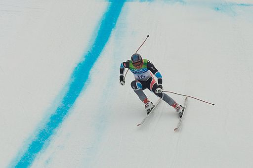 2010 Winter Olympics Aksel Lund Svindal in downhill