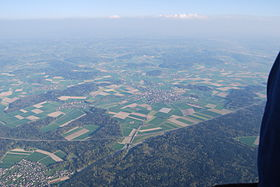 Koppigen and surroundings, photographed from a balloon on April 16, 2011;  Alchenstorf can be found in the picture above Koppigen in the center of the picture