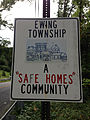 "2014-08-30 10 18 31 ""Ewing Township - A Safe Homes Community"" sign on southbound River Road (New Jersey Route 29) in Ewing, New Jersey.JPG"