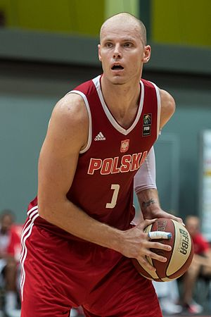 Maciej Lampe - Lampe playing for the Poland national team.