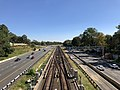 2018-10-23 13 28 46 View east along Interstate 66 and the Orange and Silver lines of the Washington Metro from the overpass for Great Falls Street (Virginia State Route 694) in McLean, Fairfax County, Virginia.jpg