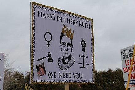"A poster depicting Ginsburg as ""the Notorious R.B.G."" in the likeness of American rapper The Notorious B.I.G., 2018 2018 Women's March in Missoula, Montana 69.jpg"