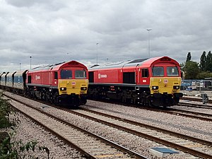 British Rail Class 59 - 59202 and 59205 in Acton in September 2012