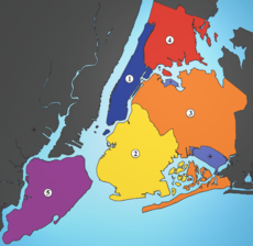 The five boroughs: 1: Manhattan, 2: Brooklyn, 3: Queens, 4: Bronx, 5: Staten Island