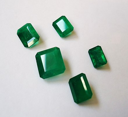 Cut emeralds 5 Emeralds from Colombia.JPG