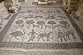 6th century AD mosaic in the Diakonikon Baptistry of the Moses Memorial Church depicting a hunting and herding scene interspersed with various animals, Mount Nebo, Jordan (39965189534).jpg
