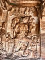 6th century Vishnu avatar Varaha lifting goddess earth (Bhudevi) in Cave 3, Badami Hindu cave temple Karnataka 1.jpg