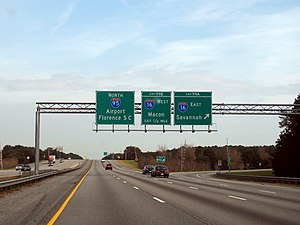 Interstate 95 in Georgia - Northbound I-95 at the interchange with I-16; Note the crossing gates at the on and off ramps