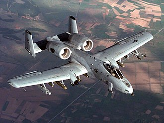 Attack aircraft - A USAF A-10 Thunderbolt II attack aircraft in flight