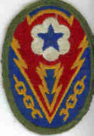 ADSEC - Advanced Section, Communication Zone (ETO).  The meaning of the patch is the lightning bolt represents the Allies breaking the chains of Nazi oppression.  The patch is similar to the ETOUSA patch with the addition of the blue 5 pointed star in the white six lobed field.  This blue star in white field is the emblem of the Services of Supply organization.