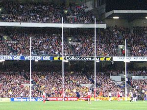 Laws of Australian rules football - Australian rules football goal posts - the two tall central posts are the goal posts, and the two shorter outer posts are the behind posts.