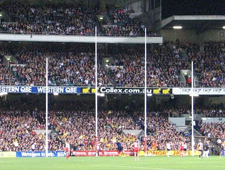 The two tall central posts are the goal posts, and the two shorter outer posts are the behind posts. AFL-Goalposts.jpg
