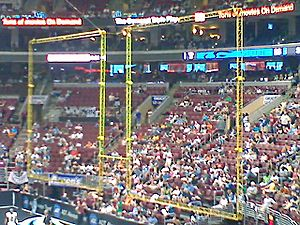 Indoor American football - An arena football goalpost. Notice the rebound nets on either side of the uprights.