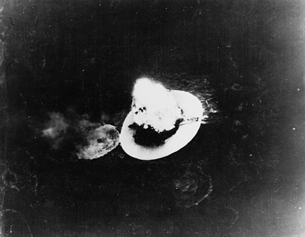 The Japanese transport ship T.14 exploding after it was attacked at Takao City on 15 January A Japanese transport explodes after being hit by carrier plane bombs in Takao Harbor, Formosa, on 15 January 1945.jpg