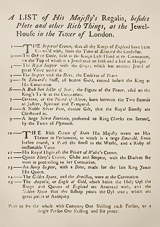 Jewel House - A copy of the first Crown Jewels 'guidebook', c. 1690