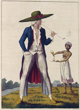 John Gabriel Stedman -  An illustration of a Dutch plantation owner and slave from William Blake's illustrations of the work of Stedman's work first published in 1792-1794.