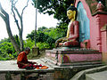 A praying Nepalese, Buddhist culture religion rites rituals sights.jpg