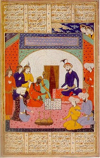"""History of games - Indian Ambassadors present Chaturanga to Khosrau I, from """"A treatise on chess"""", 14th century"""