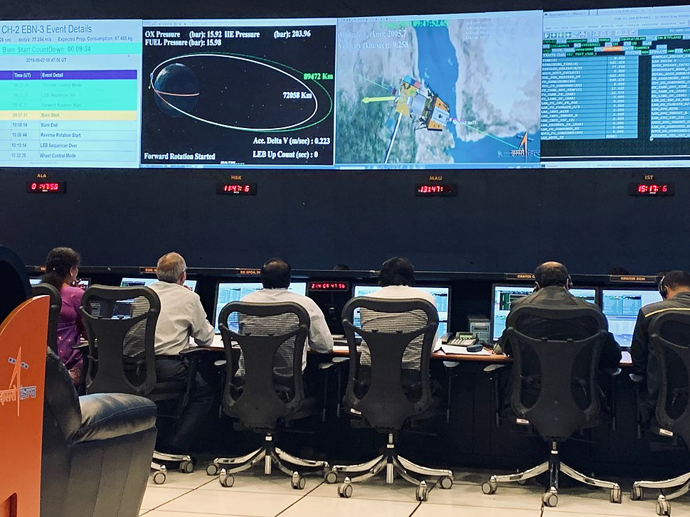A view of Mission Operations Complex 1 (MOX-1) at ISTRAC, Peenya before commencement of fourth orbit raising burn for Chandrayaan-2