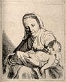 A woman lovingly holding her baby. Etching. Wellcome V0015084.jpg