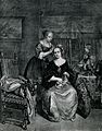 A woman with a dog on her knee having her hair dressed by a Wellcome V0019748.jpg