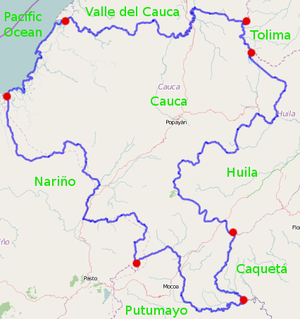 Cauca Department - Departments bordering Cauca; boundary intersections indicated in red.