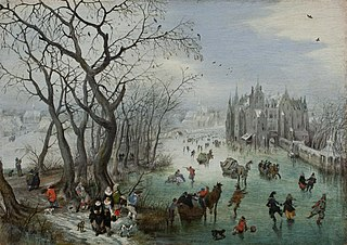 Winter Landscape with Skaters near a Castle