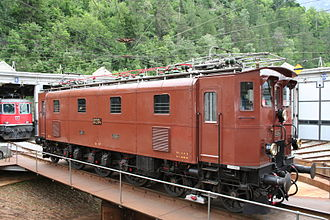 Swiss locomotive and railcar classification - Ae 3/6<sup>III</sup> on the turntable at Brig, 20 May 2006.