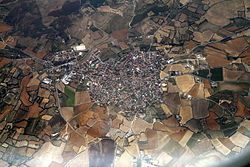 Aerial view of the town of Mandas