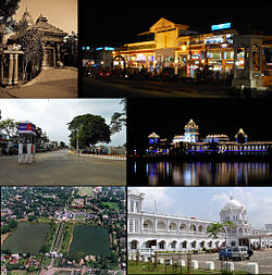 Montage of Agartala City  Clockwise from top: Agartala City Center, Ujjayanta Palace, Agartala Railway Station, Skyline of Ujjayanta Palace, North Gate of Ujjayanta Palace Compound, Kali Temple