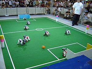 AIBO - AIBO robots playing in the 9th RoboCup in Osaka (2005)