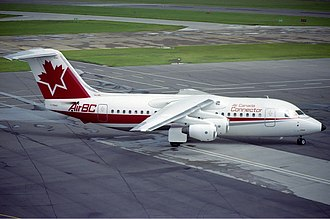 Air BC - A BAe 146-200 in Air Canada Connector livery in 1989 at now closed Edmonton City Centre Airport (YXD).