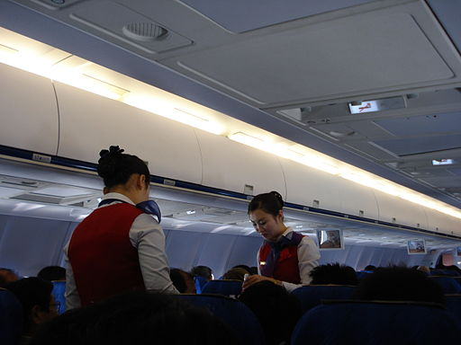 Air Koryo Tu-204 cabin with LCD screens