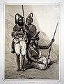 Akalees, three men, two of whom hold guns Wellcome L0021824.jpg