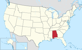 Map of the United States with ئەلاباما highlighted