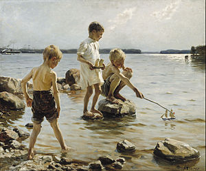 Albert Edelfelt - Boys Playing on the Shore
