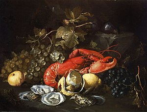 Animals in culture - Artistic vision: Still Life with Lobster and Oysters by Alexander Coosemans, c. 1660