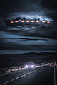 Alien spaceship breaking through the clouds over a desert highway.jpg