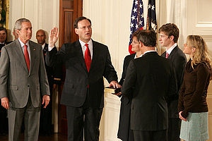 George W. Bush Supreme Court candidates - Samuel Alito is sworn in as an Associate Justice by Chief Justice John Roberts in the East Room of the White House on the day after his confirmation, February 1, 2006.