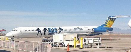 An Allegiant Air aircraft in the special Blue Man Group livery Allegiant blueman md80 (cropped).jpg