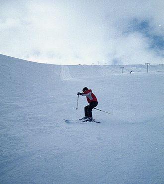Aonach Mòr - Allt an t-Sneachda or the Snow Goose. The main red run on Aonach Mor in good snow conditions.