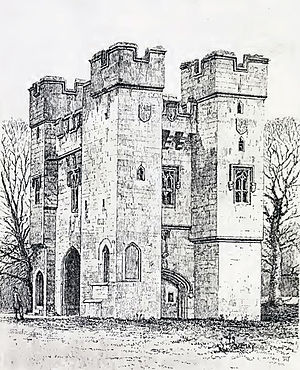 Alnwick Abbey - 1869 line drawing of the Alnwick Abbey gatehouse