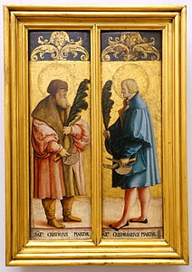 Altarpiece wings, St. Crispinus and St. Crispinianus, by the Meister von Messkirch, c. 1520-1530, spruce wood - Bode-Museum - DSC03289.JPG