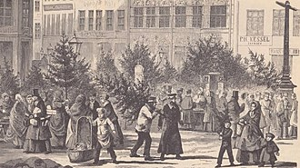 Jul (Denmark) - Christmas trees on Amagertorv in Copenhagen in the winter of 1867-68, illustration from Illustreret Tidende