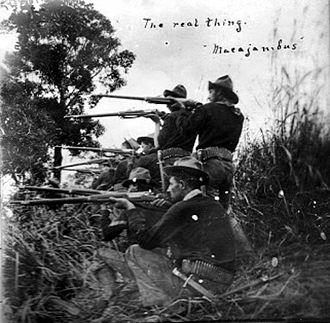 Cagayan de Oro - The American forces attacking Makahambus, circa 1900s.