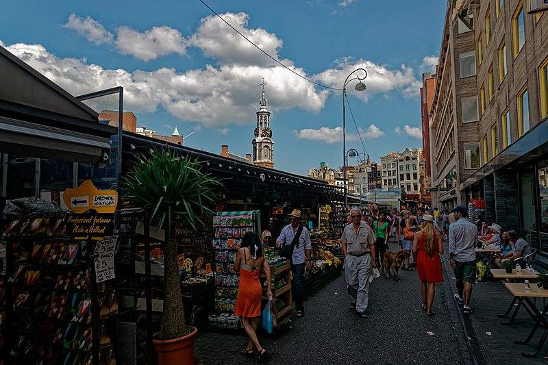 File:Amsterdam - Singel - Bloemenmarkt - Flowermarket - View ENE towards Munttoren.jpg