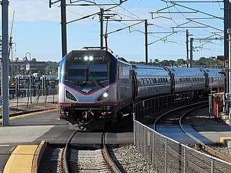 Northeast Regional - A typical Northeast Regional with an ACS-64 locomotive and Amfleet passenger cars at New London Union Station
